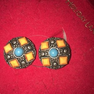 Deco Style yellow&blue beads Clip on Earrings